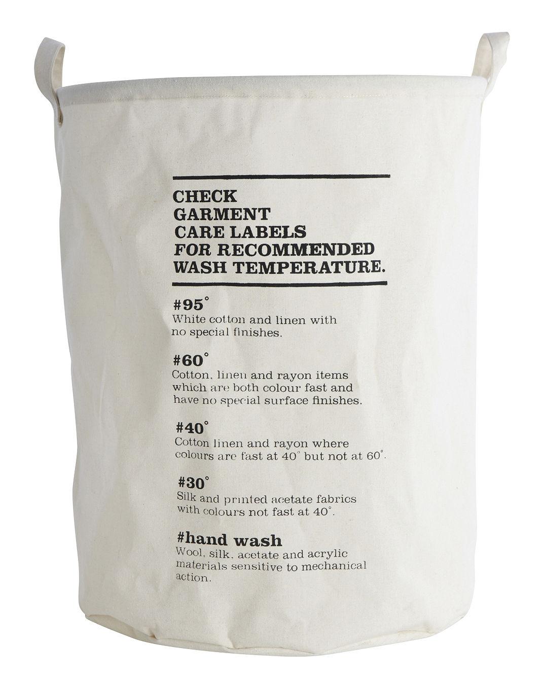 Déco - Paniers et petits rangements - Corbeille à linge Wash Instructions / Ø 40 x H 50 cm - House Doctor - Instructions de lavage - Coton enduit