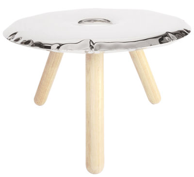 Ufo Couchtisch ø 75 Cm Edelstahl Poliert Glänzend Holz By Zieta