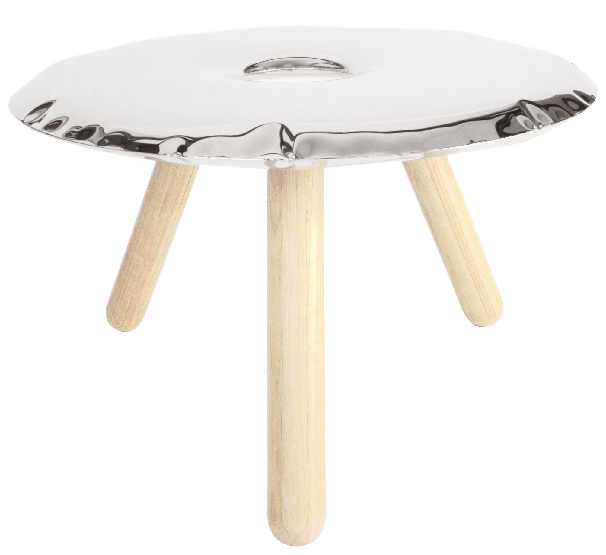 Ufo Couchtisch O 75 Cm Edelstahl Poliert Glanzend Holz By Zieta