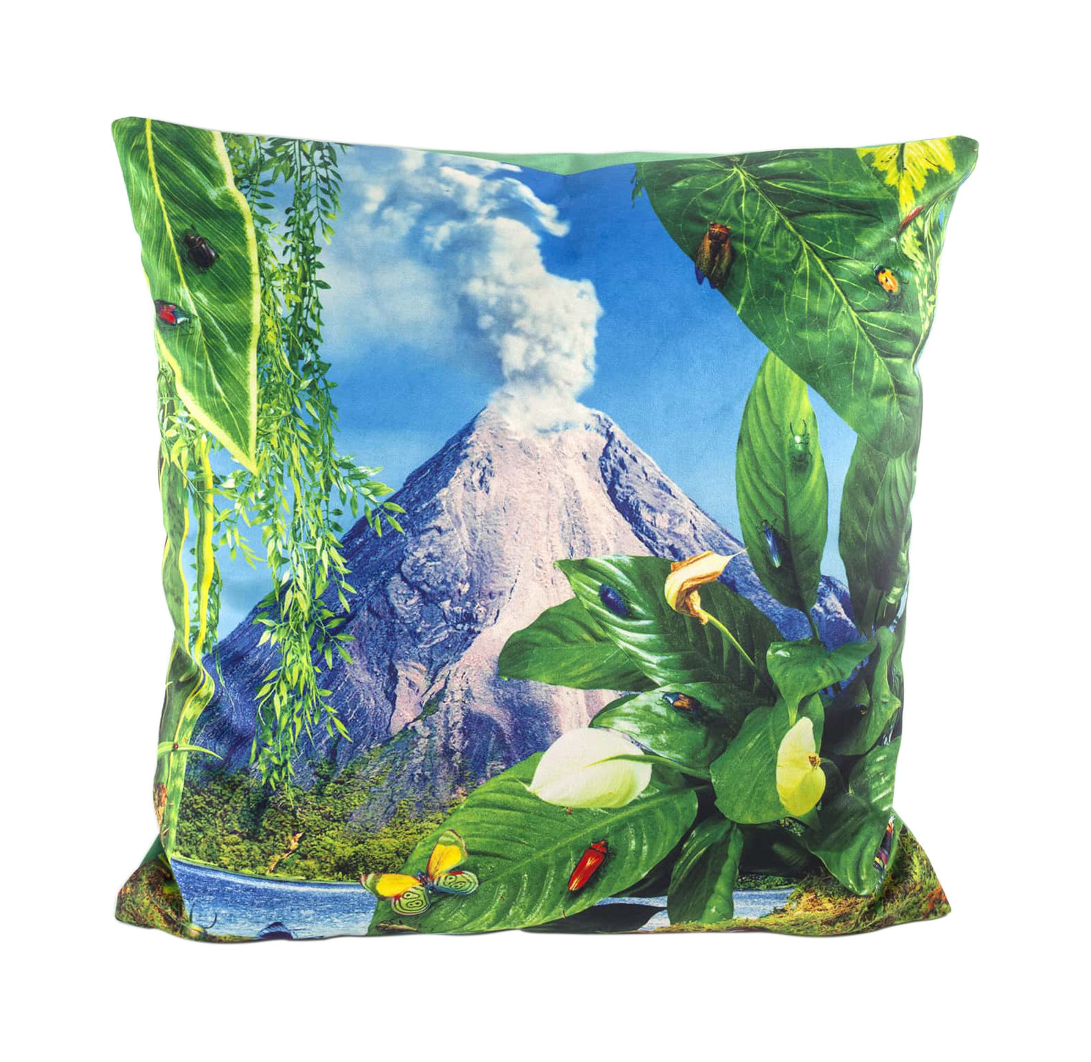 Decoration - Cushions & Poufs - Toiletpaper Cushion - / Volcan - 50 x 50 cm by Seletti - Volcan / Vert - Feathers, Polyester fabric
