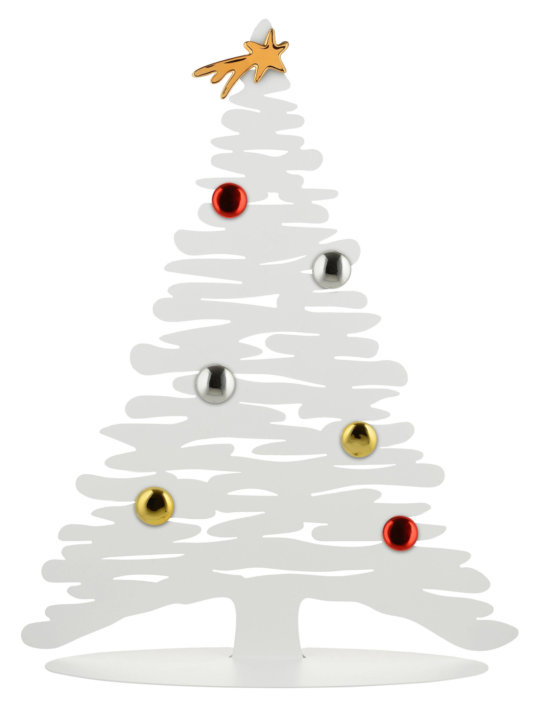 Déco - Objets déco et cadres-photos - Décoration Bark Tree / Sapin avec aimants colorés - H 45 cm - Alessi - Blanc - Acier, Porcelaine