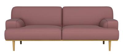Arredamento - Divani moderni - Divano destro Madison - Velluto / 2½ posti - L 204 cm di Bolia - Velluto rosa / Rovere - Massello di quercia oliato, Schiuma ad alta densità, Velluto
