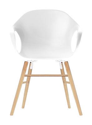 Chaise Elephant Wood Coque plastique pieds bois Kristalia blanc en matière plastique