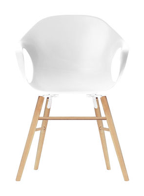 Chaise Elephant Wood / Coque plastique & pieds bois - Kristalia blanc en matière plastique/bois