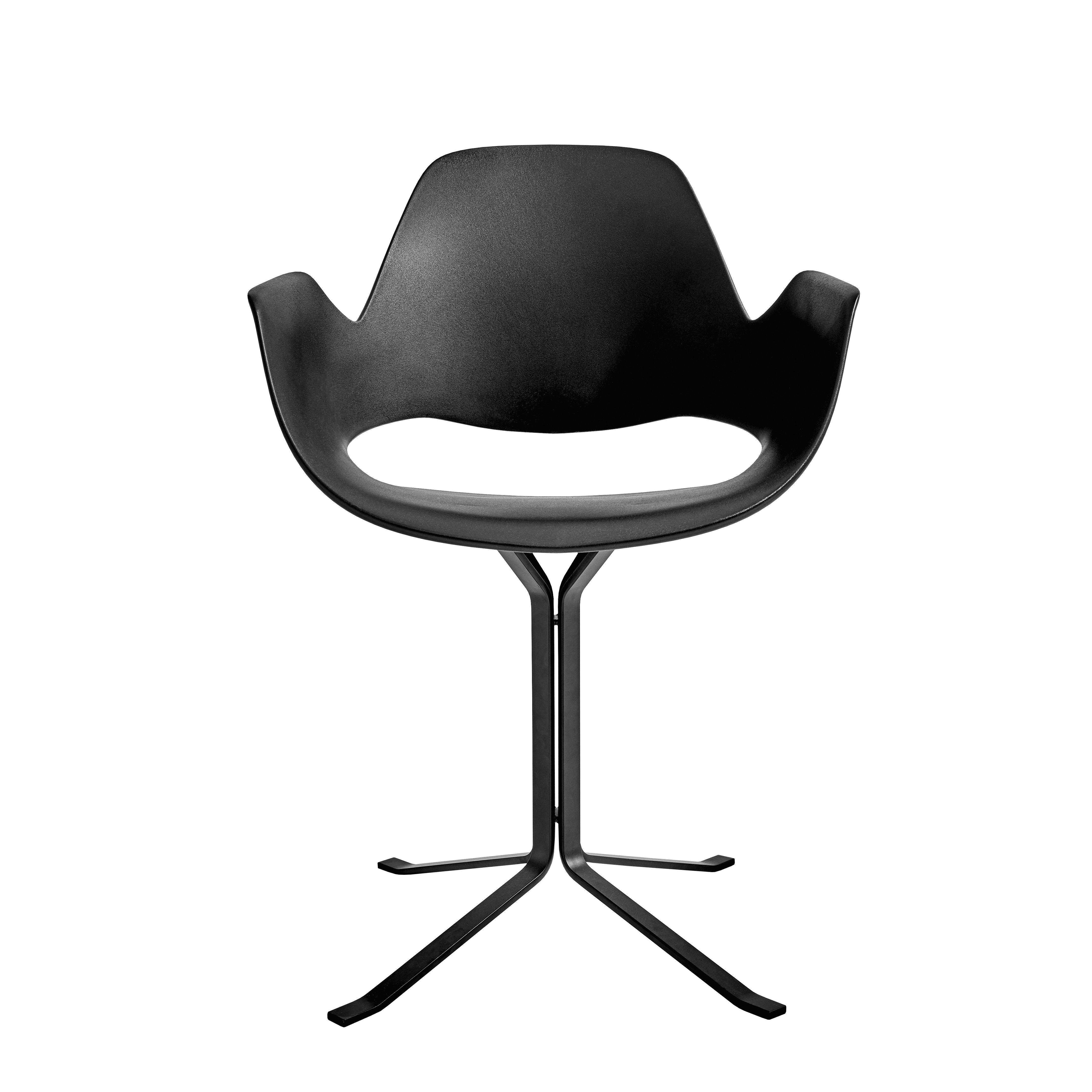 Mobilier - Chaises, fauteuils de salle à manger - Fauteuil Falk / Déchets ménagers recyclés - Pied colonne - Houe - Noir / Piètement noir - Métal laqué époxy, Plastique recyclé