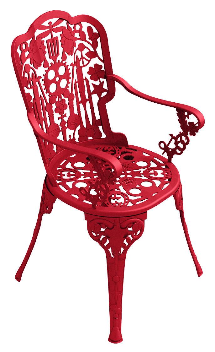 Mobilier - Chaises, fauteuils de salle à manger - Fauteuil Industry Garden - Seletti - Rouge - Aluminium