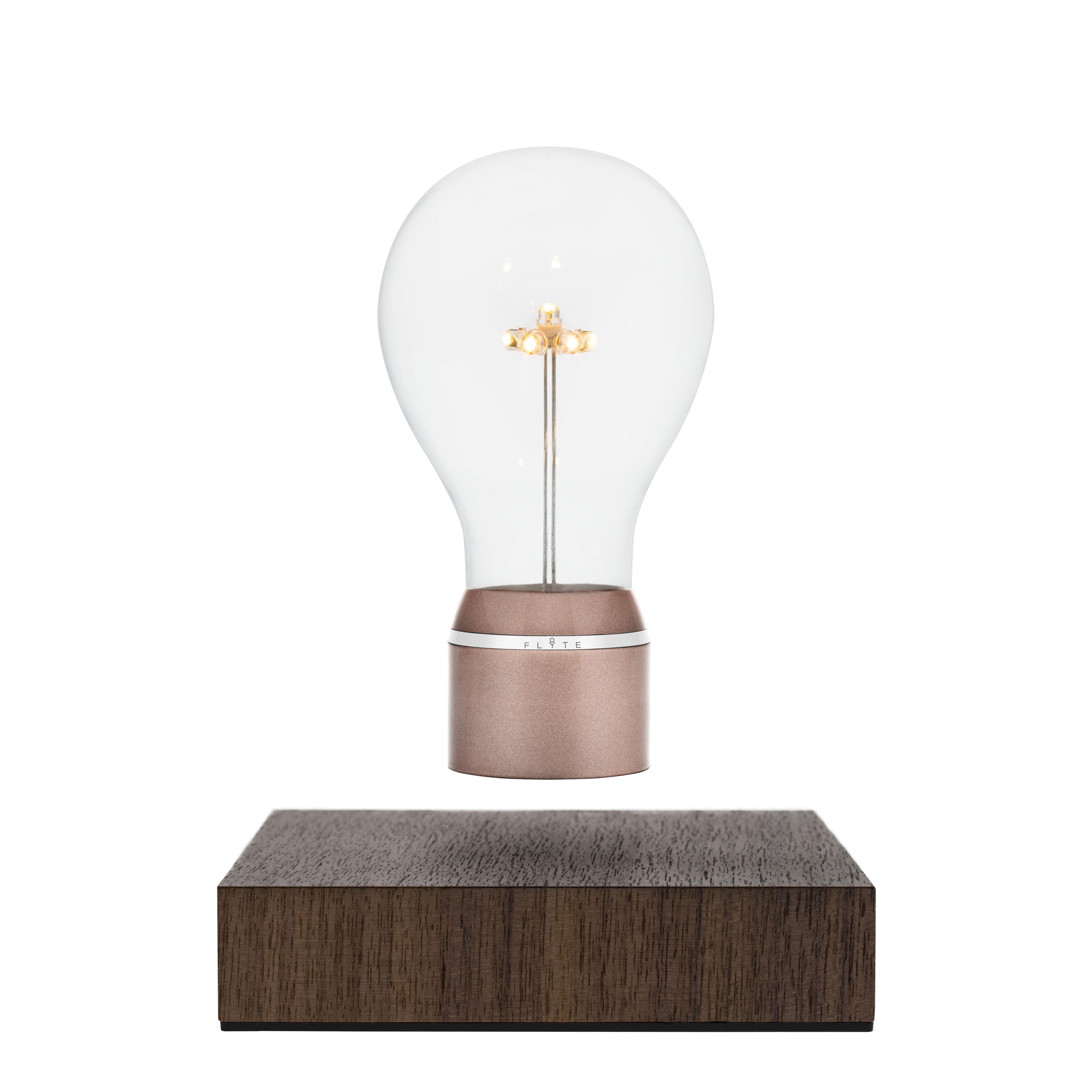 Illuminazione - Lampade da tavolo - Lampada da tavolo Flyte Buckminster - / Lampadina in levitazione di Flyte - Rame / Base noce - Metallo, Noce, Vetro