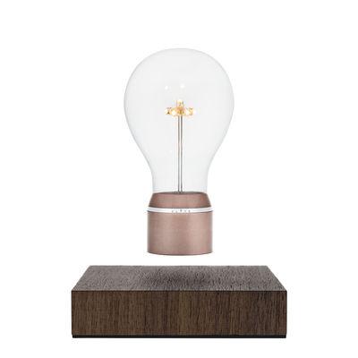 Lampe de table Flyte Buckminster / Ampoule en lévitation - Flyte cuivre,noyer en bois