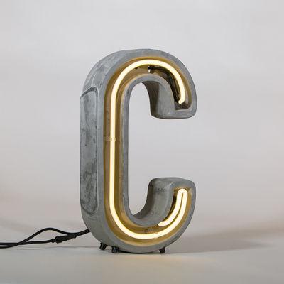 Lampe de table Néon Alphacrete / Lettre C - Intérieur / extérieur - Seletti blanc,gris en pierre