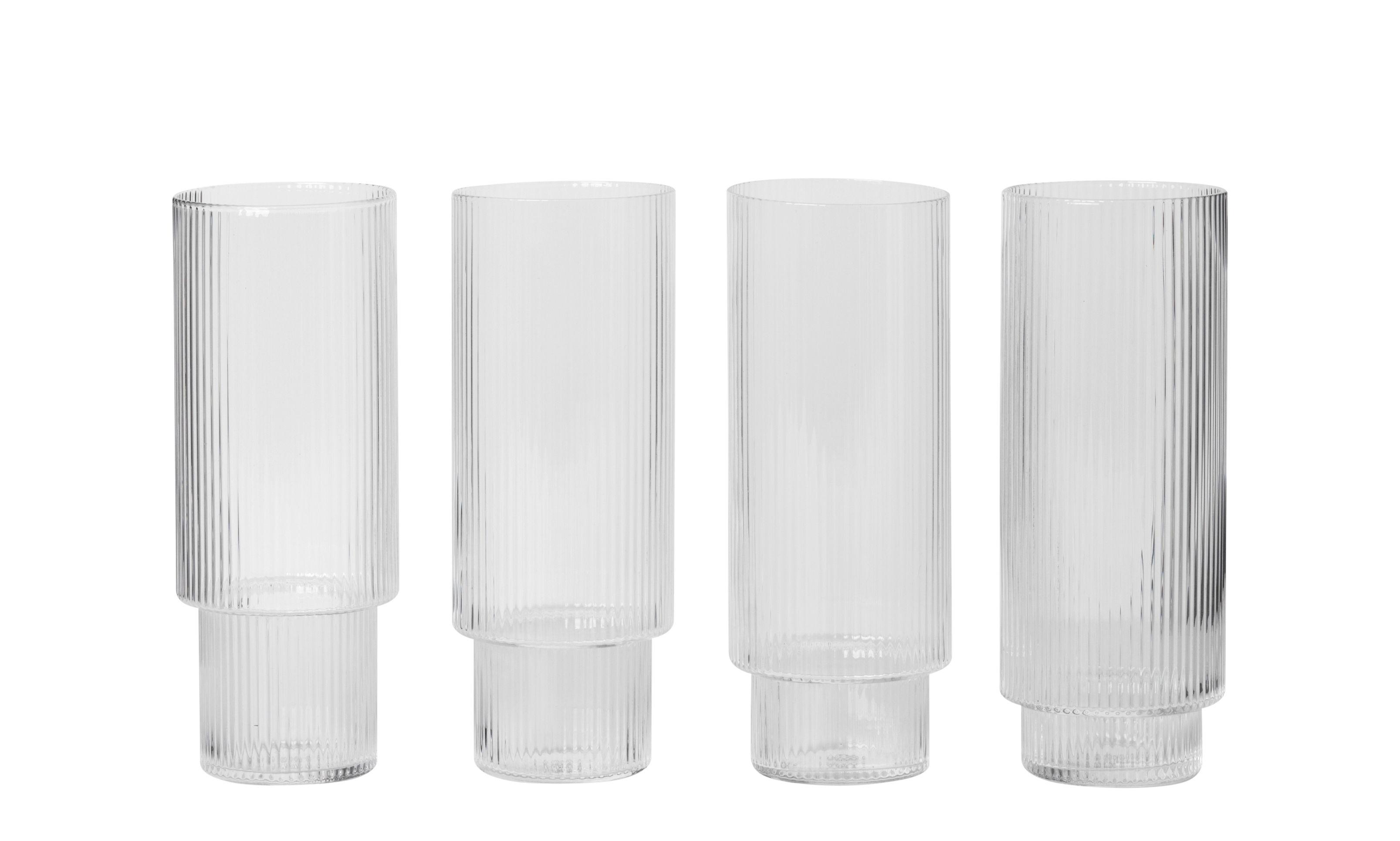 Tischkultur - Gläser - Ripple Longdrink Glas / 4er-Set - mundgeblasenes Glas - Ferm Living - Transparent / mit Rillen - mundgeblasenes Glas