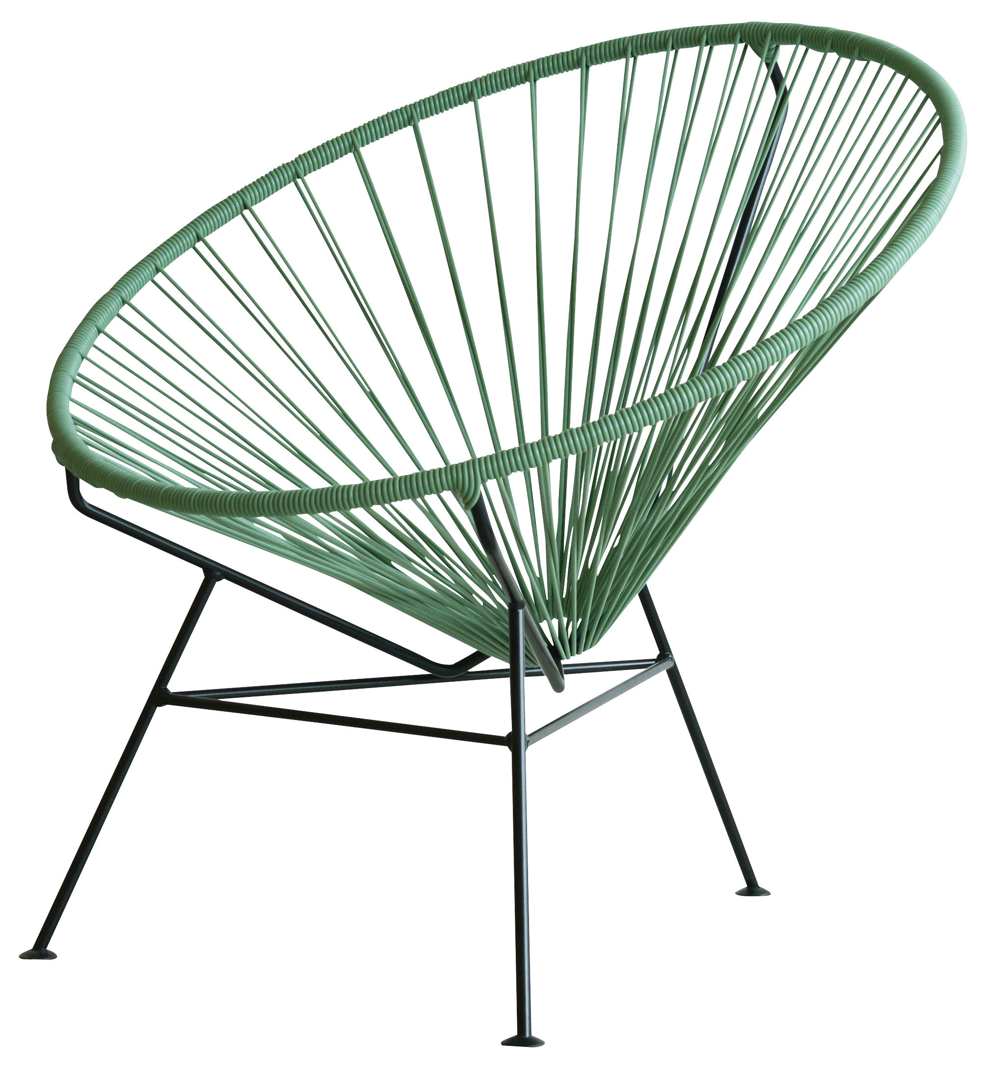 Furniture - Armchairs - Condesa Low armchair by OK Design pour Sentou Edition - Ocean green - Lacquered steel, Plastic material