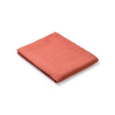 Arts de la table - Nappes, serviettes et sets - Nappe en tissu / 160 x 160 cm - Lin traité TEFLON®anti-tache - Au Printemps Paris - Tomette - Lin