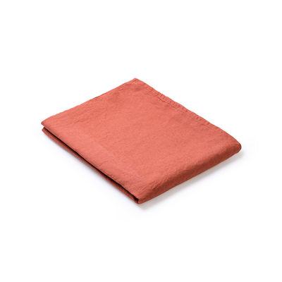 Nappe en tissu / 160 x 160 cm - Lin traité TEFLON®anti-tache - Au Printemps Paris rouge/marron en tissu