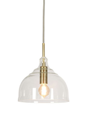 Lighting - Pendant Lighting - Brussels Pendant - Round / Ø 20 x H 22 cm by It's about Romi - Transparent & gold - Engraved glass, Iron