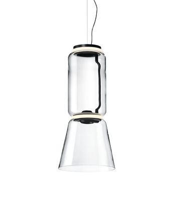 Lighting - Pendant Lighting - Noctambule Cône n°1 Pendant - / LED - Ø 36 x H 82 cm by Flos - H 82 cm / Transparent - Blown glass, Cast aluminium, Steel