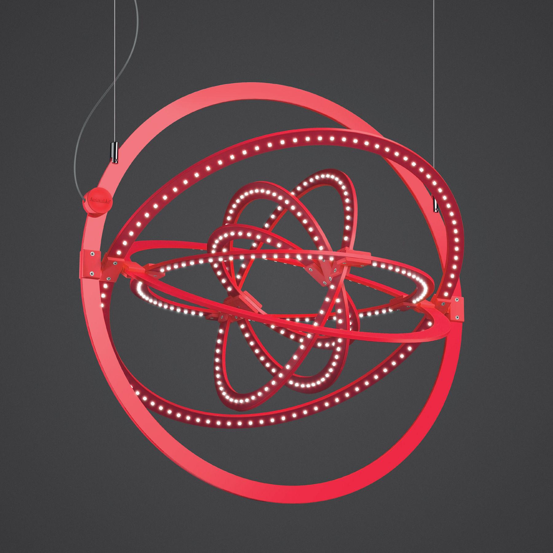 Leuchten - Copernico LED Pendelleuchte / verstellbar - Ø 49 cm - Artemide - Rot - bemaltes Aluminium