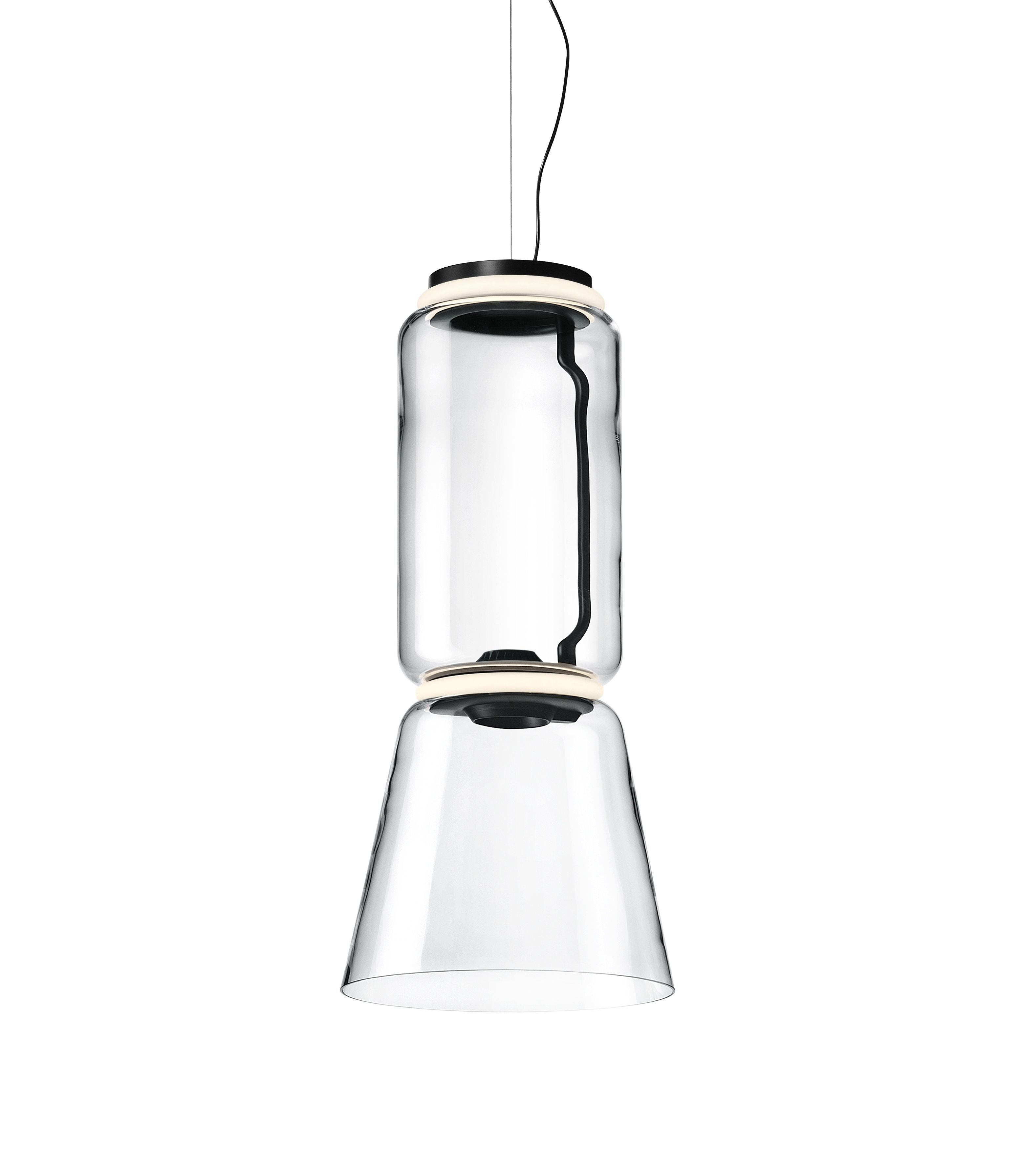 Leuchten - Pendelleuchten - Noctambule Cône n°1 Pendelleuchte / LED - Ø 36 x H 82 cm - Flos - H 82 cm / Transparent - geblasenes Glas, Gussaluminium, Stahl
