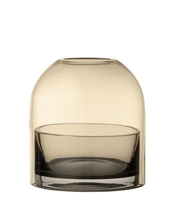 Photophore Tota Small / Verre - H 10 cm - AYTM jaune/marron en verre