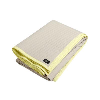 Plaid Bias / Matelassé - 245 x 195 cm - Hay blanc,jaune en tissu