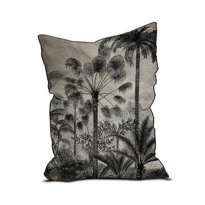 Furniture - Poufs & Floor Cushions - Tresors Pouf - / Velvet - 115 x 145 cm by Beaumont - Palmiers no. 1 / Black & White - EPS balls, Fabric, Velvet