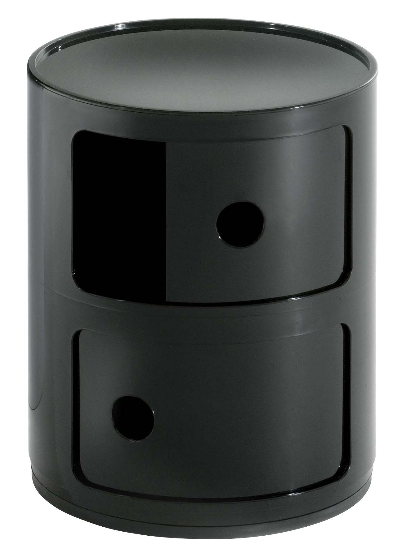 Mobilier - Mobilier Ados - Rangement Componibili / 2 tiroirs - H 40 cm - Kartell - Noir brillant - ABS