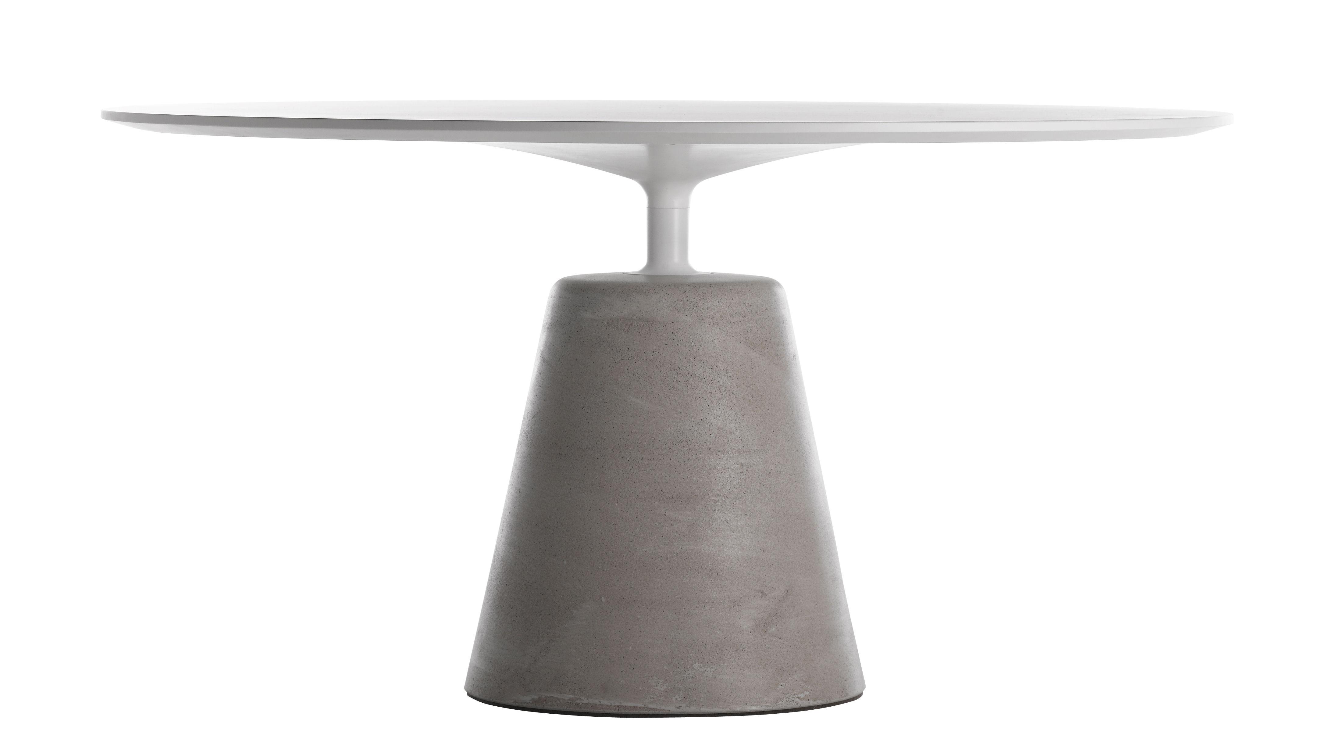 Möbel - Tische - Rock Runder Tisch / Ø 120 cm - MDF Italia - Ø 120 cm / weiß & heller Beton - bemaltes Aluminium, Beton, Holzfaserplatte