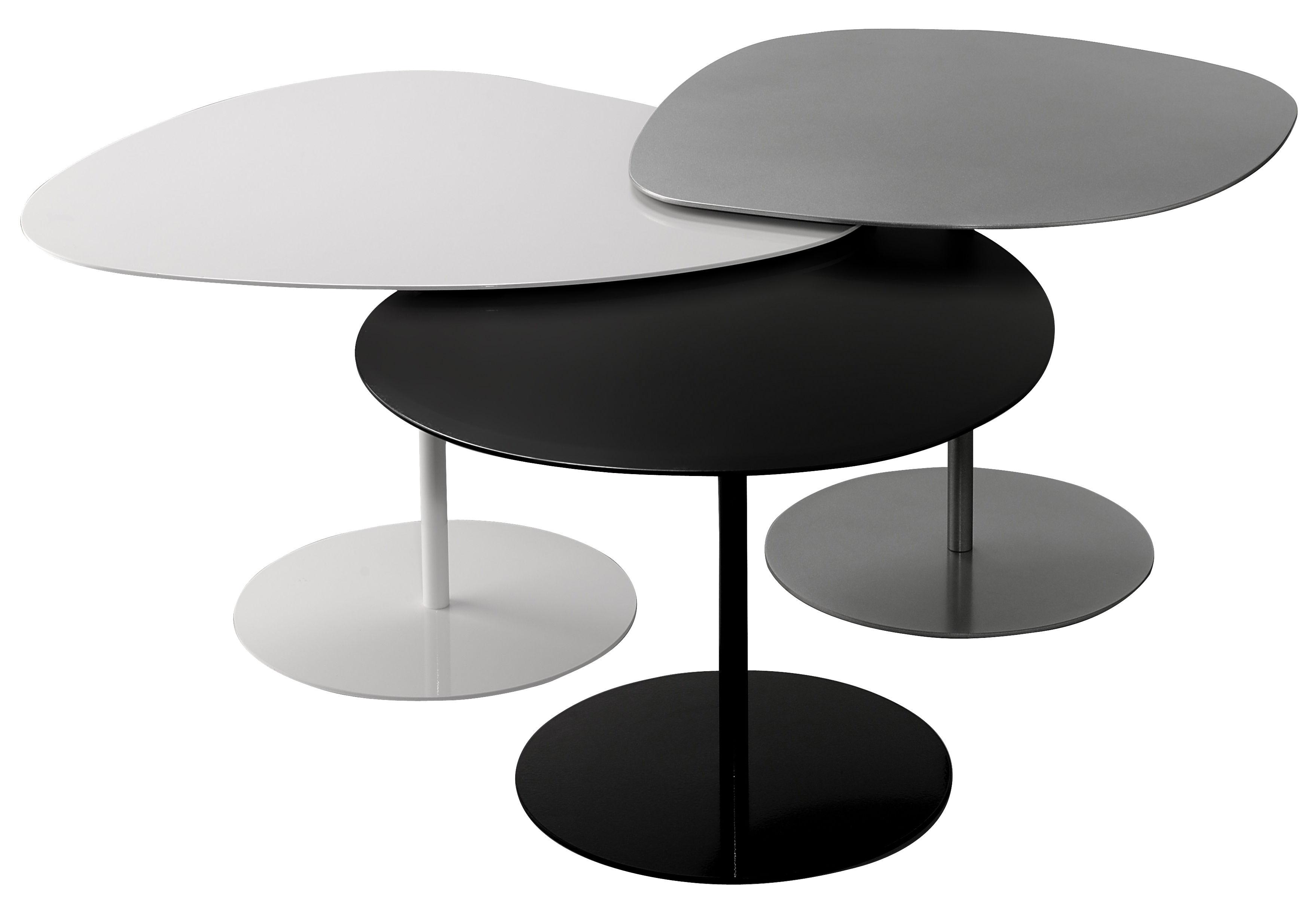 Möbel - Couchtische - Galet INDOOR Satz-Tische / Set aus 3 Satz-Tischen - Matière Grise - Schwarz, weiß und grau - Stahl