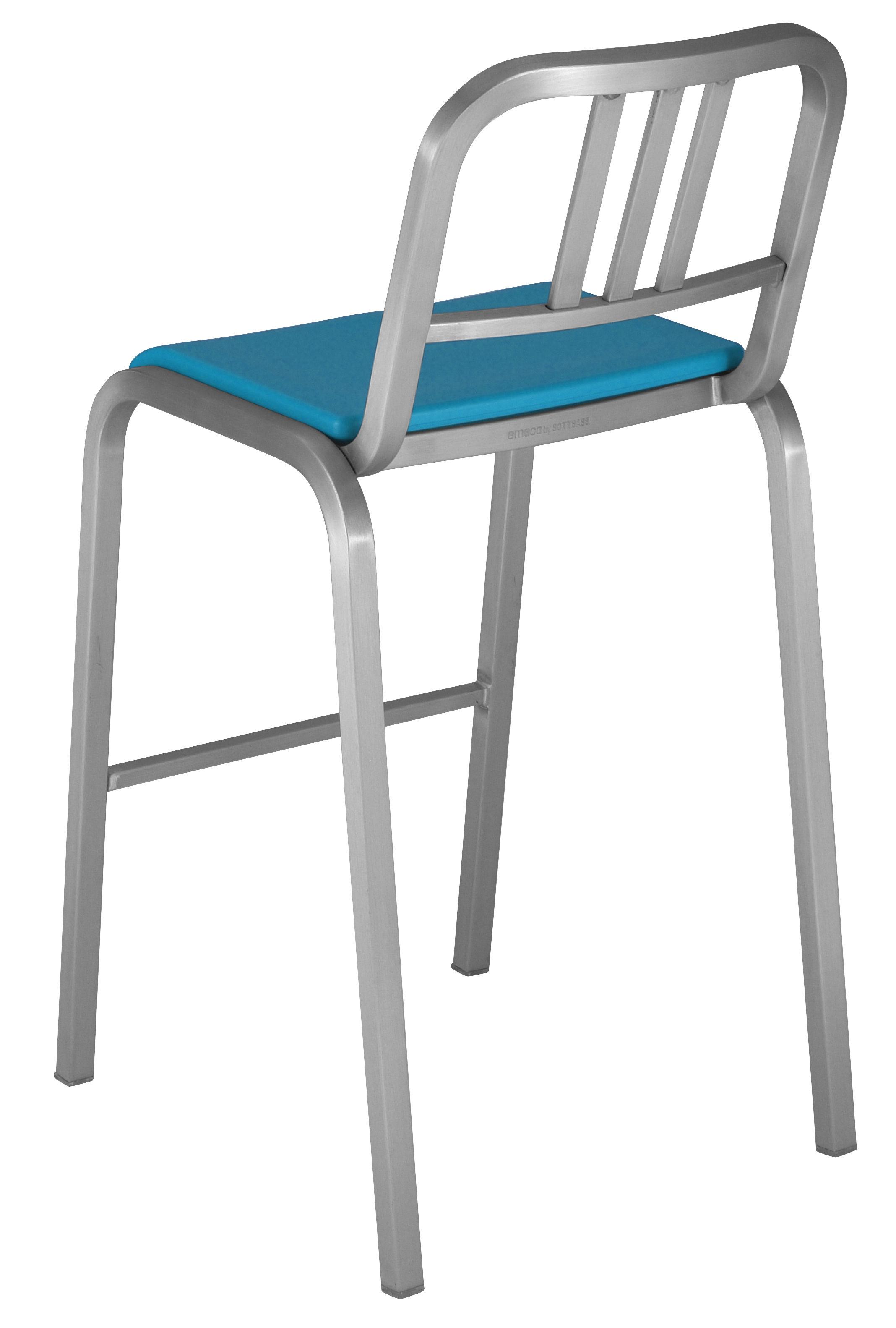 Arredamento - Sgabelli da bar  - Sedia da bar Nine-O - h 75 cm di Emeco - Alluminio opaco / Blu - Alluminio, Poliuretano