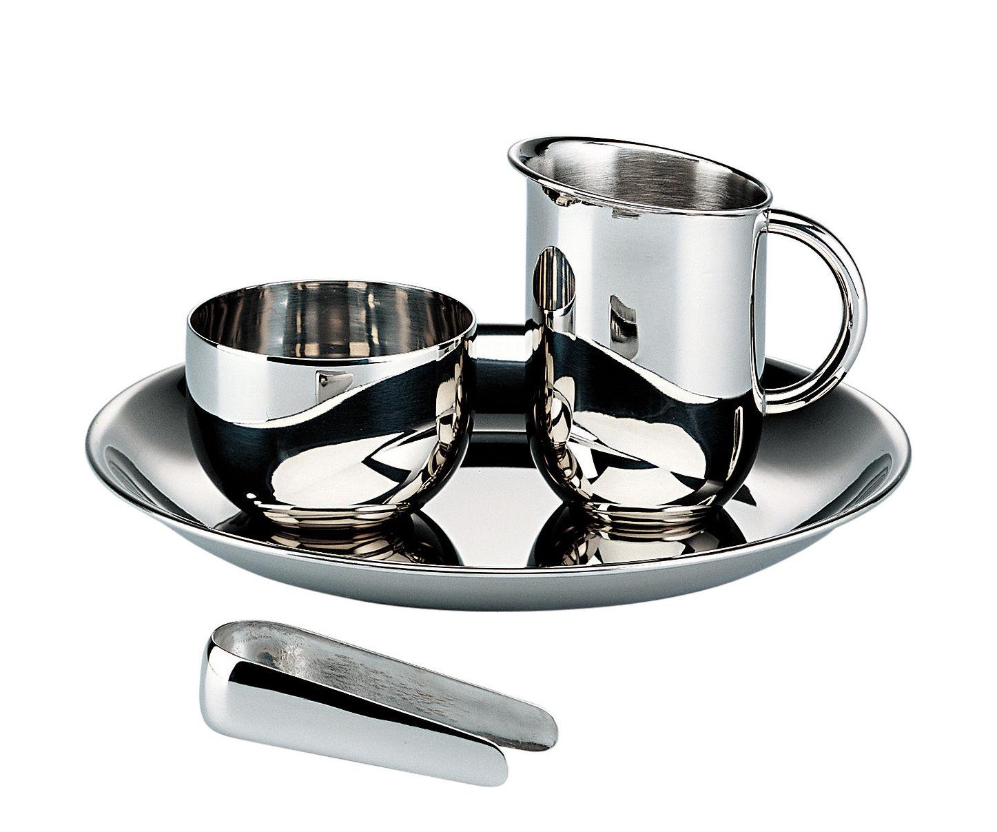 Arts de la table - Thé et café - Set à café 100 ans Bauhaus / (1928) - Crémier + sucrier avec pince + plateau - Alessi - Acier - Acier inoxydable brillant
