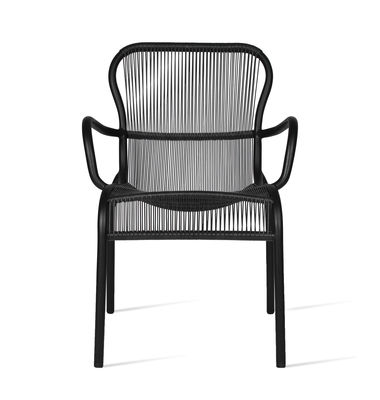 Furniture - Chairs - Loop Stackable armchair - / Hand-woven polyethylene cord by Vincent Sheppard - Black - Polythene fiber, Thermolacquered aluminium