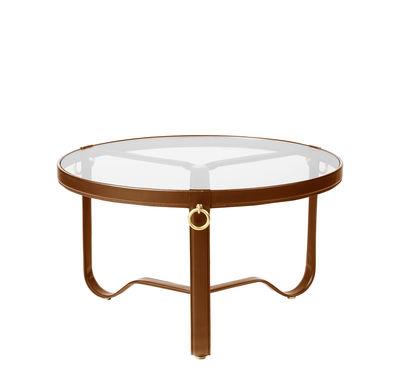 Table basse Adnet / Ø 70 cm - Cuir & verre - Gubi marron,transparent en cuir
