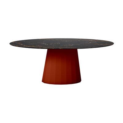 Table ovale Ankara INDOOR / 200 x 100 cm - Marbre - Matière Grise rouge/orange/marron/noir en métal/pierre