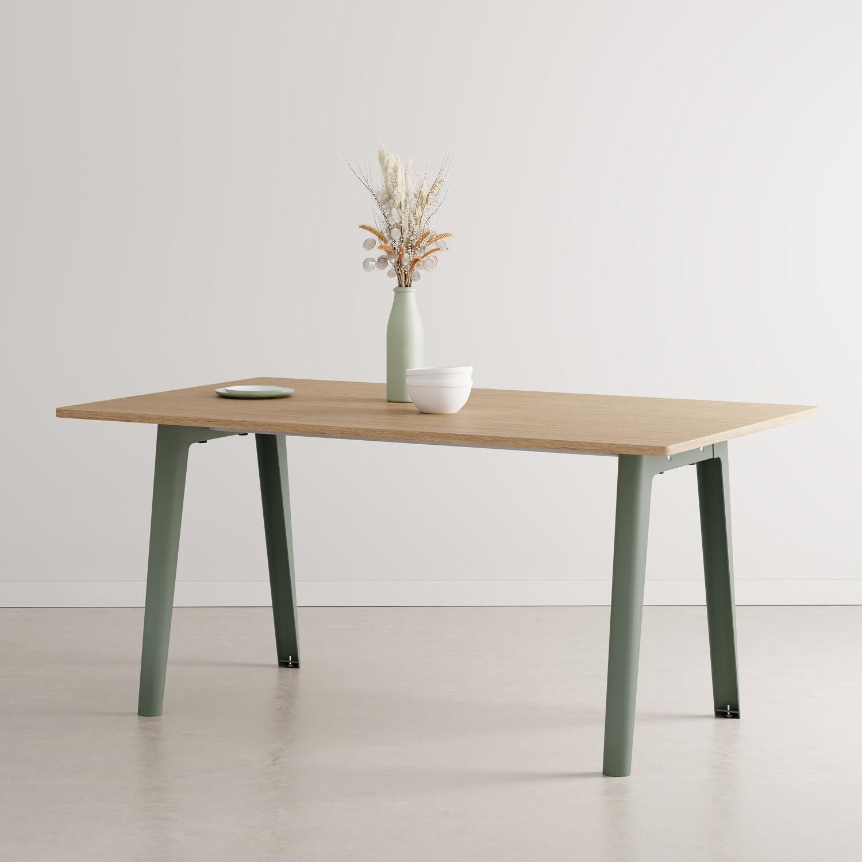 Table rectangulaire New Modern / 160 x 95 cm - Chêne éco-certifié / 6 à 8 personnes - TIPTOE gris en métal/bois