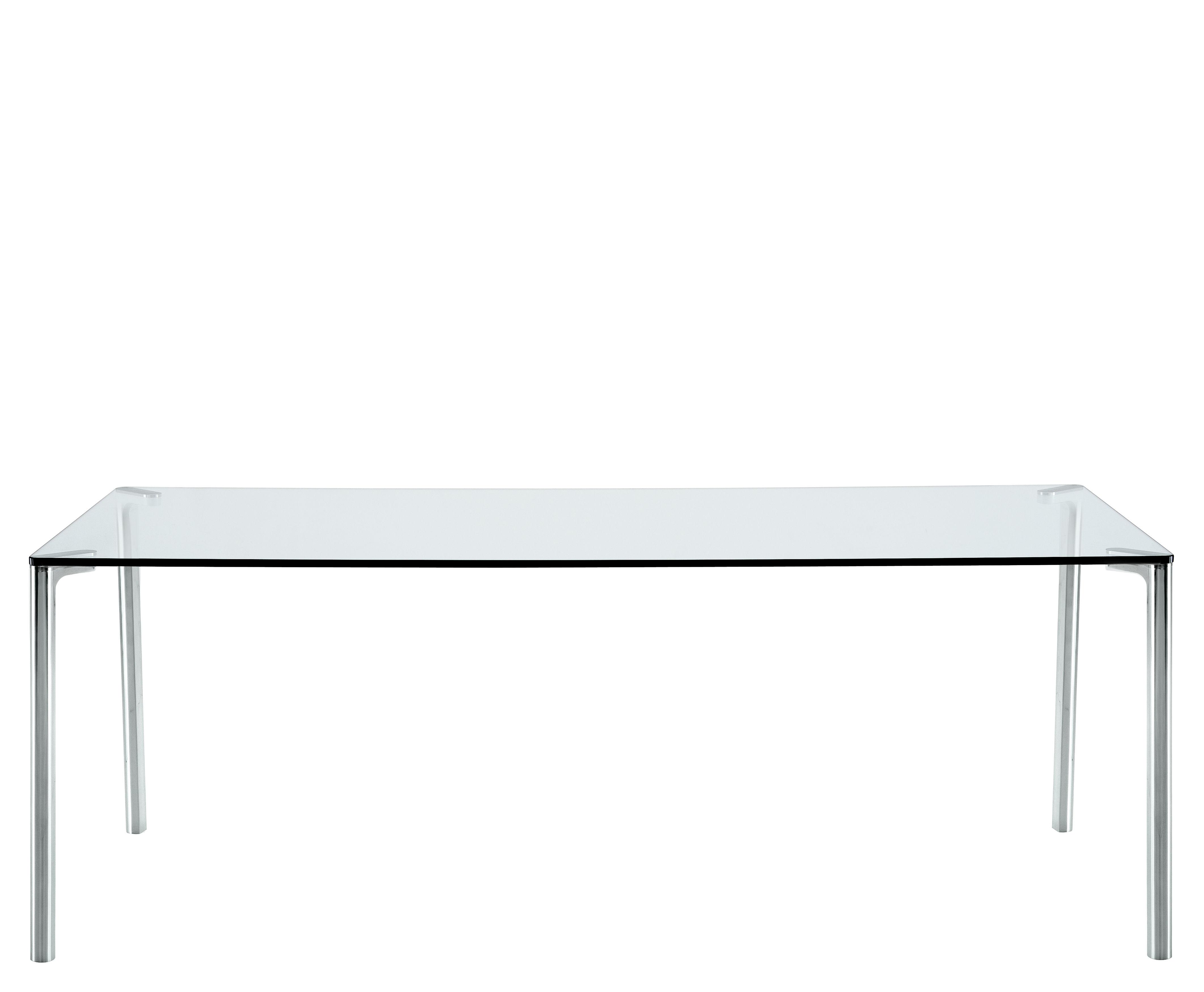Mobilier - Tables - Table rectangulaire Spillo / 200 x 100 cm - Zanotta - Plateau transparent / Pieds alu poli - Aluminium, Verre trempé