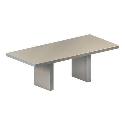 Table rectangulaire Tommaso OUTDOOR / 180 x 90 cm - Acier peint - Zeus gris ciment en métal