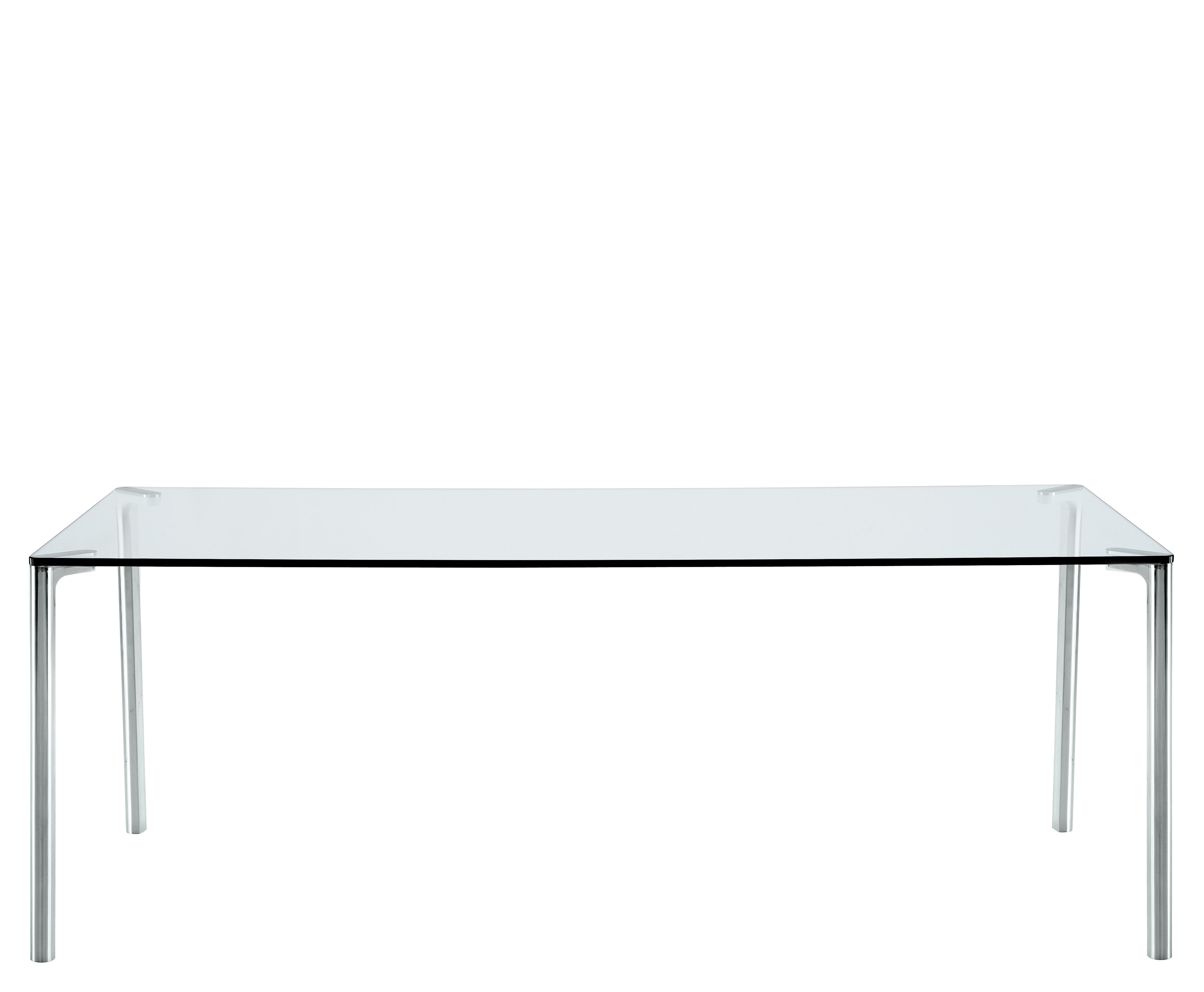 Mobilier - Tables - Table Spillo / 200 x 100 cm - Zanotta - Plateau transparent / Pieds alu poli - Aluminium, Verre trempé
