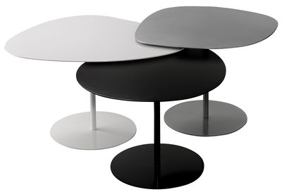 Tables Gigognes 3 Galets Matiere Grise Blanc Gris Noir Made In Design