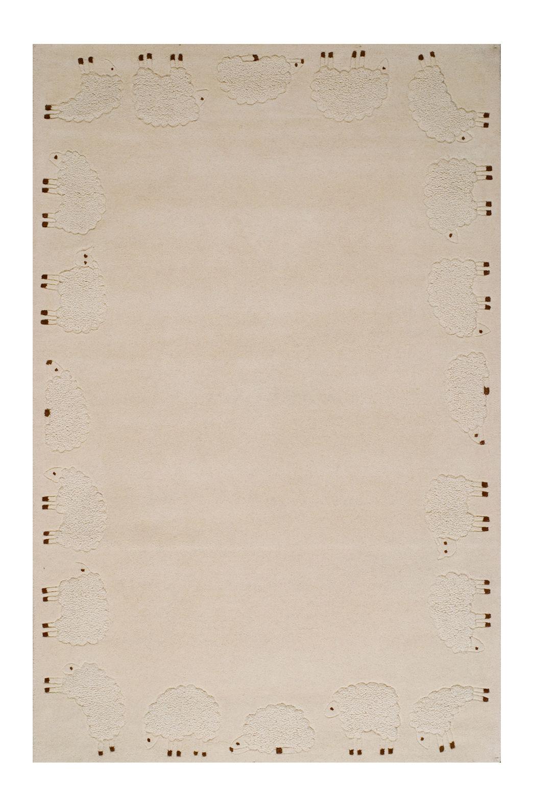 Déco - Pour les enfants - Tapis Cabriole / 110 x 170 cm - Toulemonde Bochart - Ecru / Motifs moutons - Coton