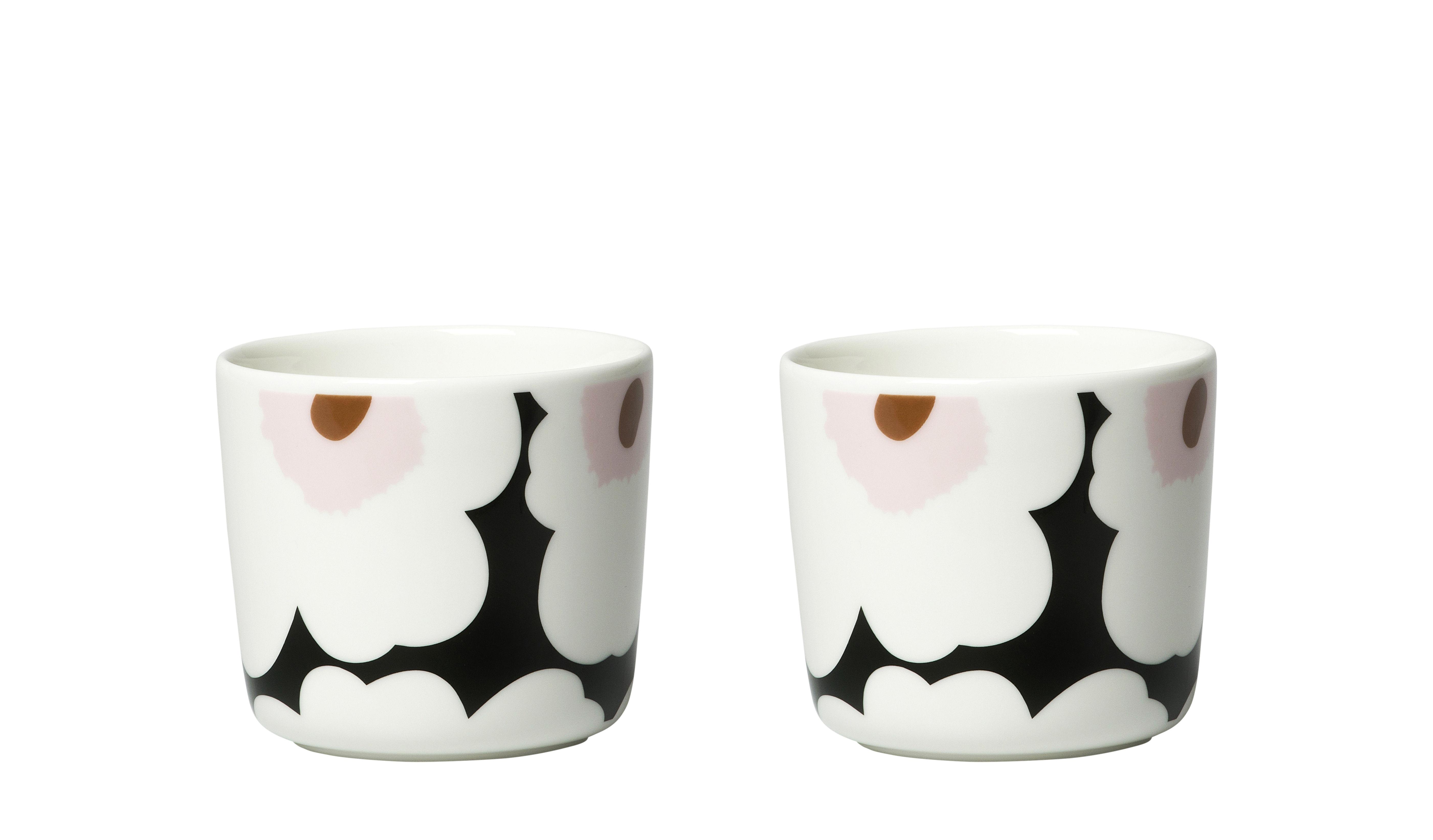 Arts de la table - Tasses et mugs - Tasse à café Unikko / Sans anse - Set de 2 - Marimekko - Unikko / Blanc & rose - Grès