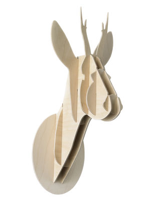 Decoration - Funny & surprising - Trophy - Roe - H 29 cm by Moustache - Natural wood - Birch plywood