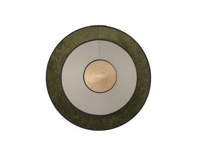 Lighting - Wall Lights - Cymbal LED Wall light - / Small - Ø 34 cm - Fabric by Forestier - Green - Oak, Velvet, Woven cotton
