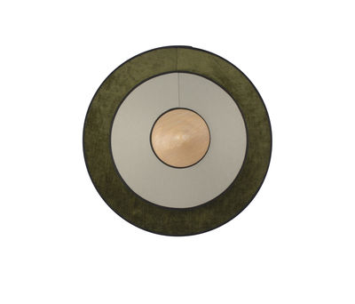 Leuchten - Wandleuchten - Cymbal LED Wandleuchte / Small - Ø 34 cm - Stoff - Forestier - Grün - Eiche, Gewebte Baumwolle, Velours