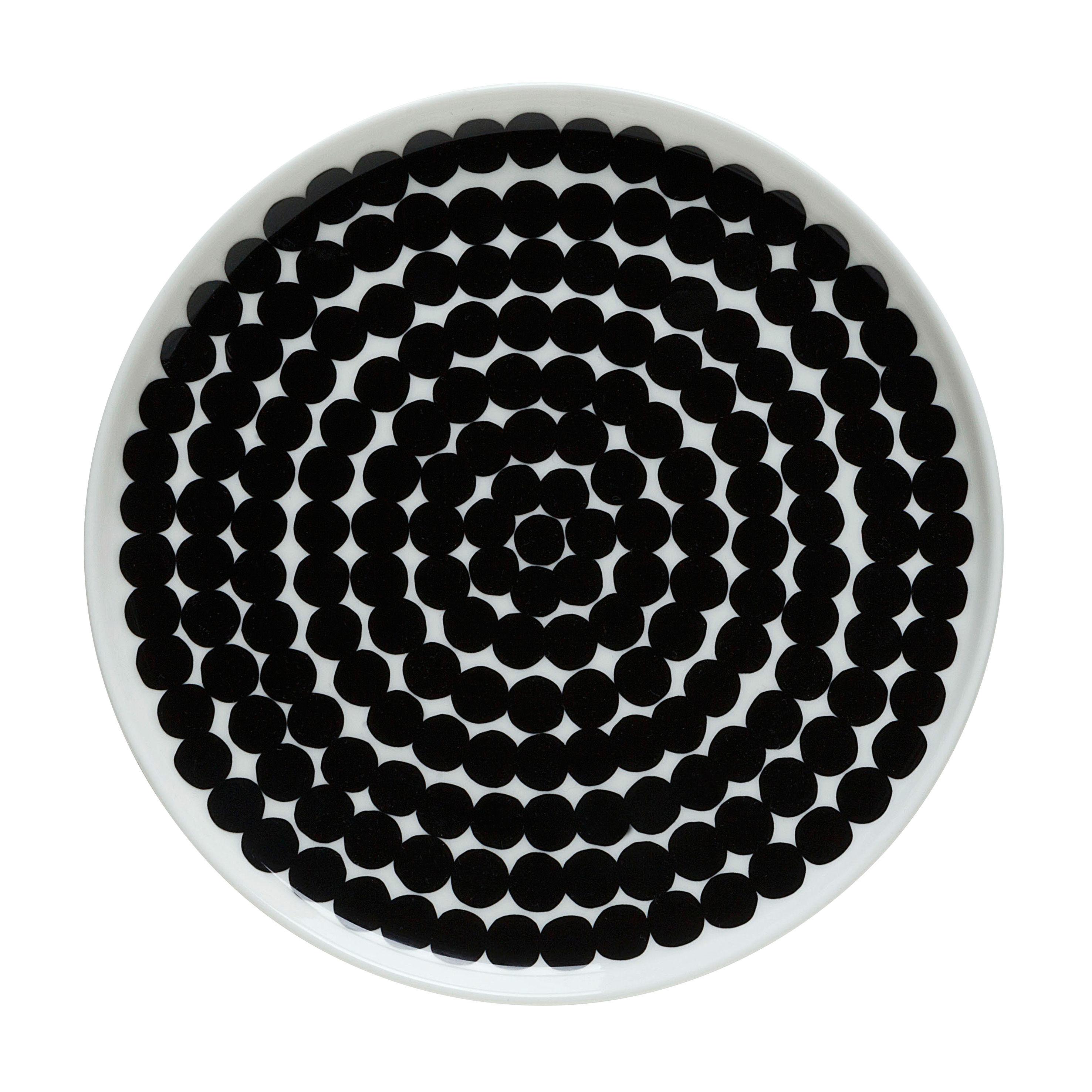 Arts de la table - Assiettes - Assiette à dessert Räsymatto / Ø 20 cm - Marimekko - Räsymatto / Blanc & noir - Porcelaine