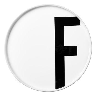Assiette A-Z / Porcelaine - Lettre F - Ø 20 cm - Design Letters blanc en céramique