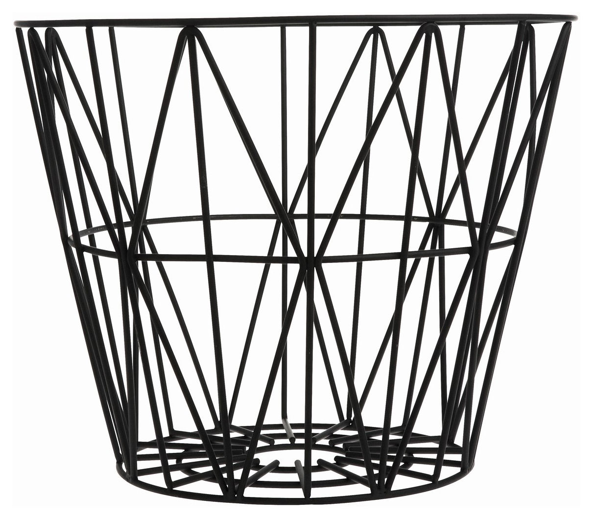 Decoration - For bathroom - Wire Medium Basket - Ø 50 x H 40 cm by Ferm Living - Black - Lacquered wire