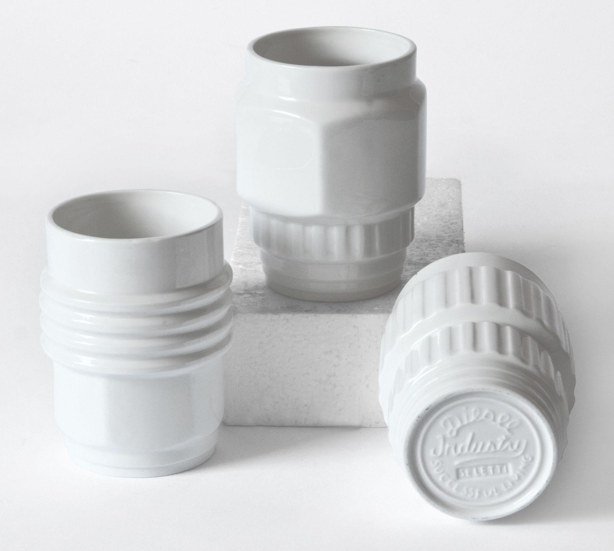 Tischkultur - Tassen und Becher - Machine Collection Becher / 3er-Set - Diesel living with Seletti - Weiß - Porzellan