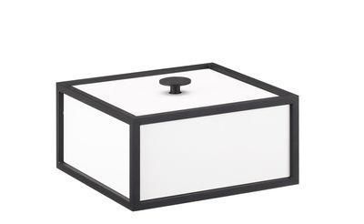 Déco - Boîtes déco - Boîte Frame / 14 x 14 cm - Bois & cadre métal - by Lassen - 14 cm / Blanc & métal noir - Acier laqué, MDF laqué