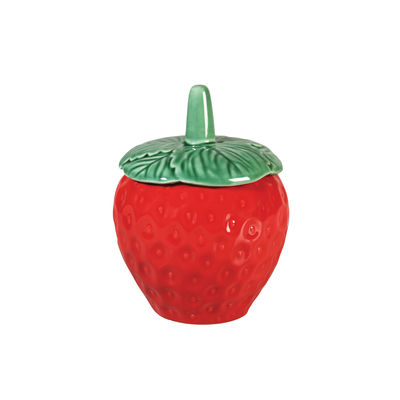 Cuisine - Boîtes, pots et bocaux - Boîte Strawberry Small / Ø 10.5 x H 15 cm - Céramique - & klevering - Small / Rouge & vert - Céramique