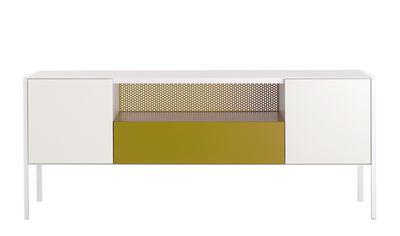 Arredamento - Contenitori, Credenze... - Credenza Heron / Bassa - L 200 x H 80 cm - MDF Italia - Bianco & Giallo ocra - Compensato laccato, metallo laccato