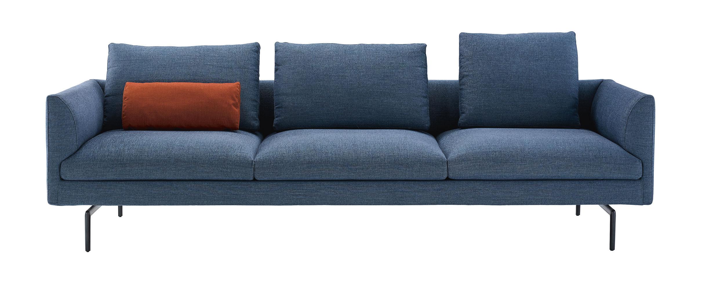 Mobilier - Canapés - Canapé droit Flamingo / 3 places - L 261 cm - Zanotta - Canapé / Bleu jean - Aluminium verni, Fibre polyester, Mousse  polyuréthane, Tissu
